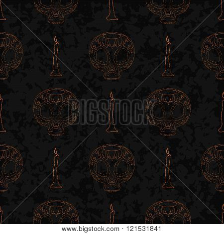 Dia de Muertos cartoon Skull Ornate Day of The Dead seamless outline pattern