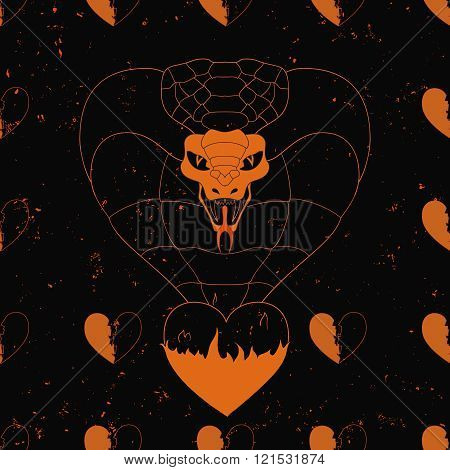 realisitc cobra comes from the flamming heart on the grunge background. seamless pattern. line art.