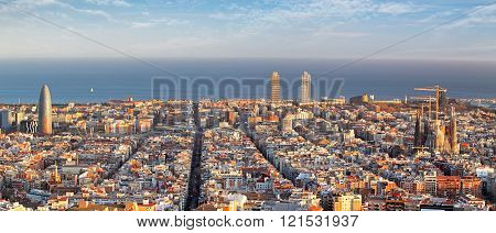 Panoramic View Of Barcelona, Spain