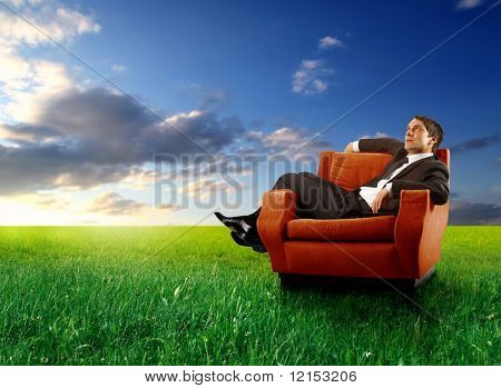 businessman sitting on an armchair in a grass field