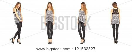 Images of an amazing girl in black leather pants on a white background