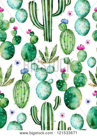 Seamless pattern with watercolor cactus plants