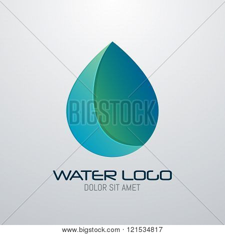Water drop abstract vector logo design template