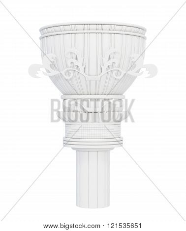 Decorative marble column isolated on white background. 3d render