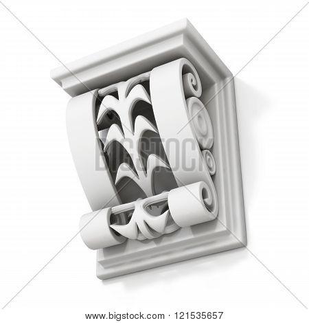 Decorative architectural bracket isolated on white background. 3