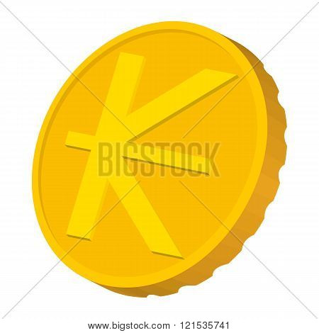 Gold coin with Lao Kip sign icon, cartoon style
