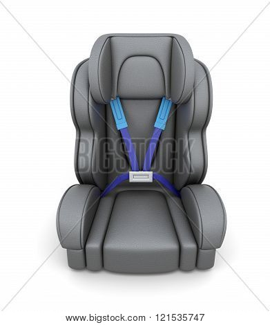 Baby car seat isolated on a white background. View of front. 3d