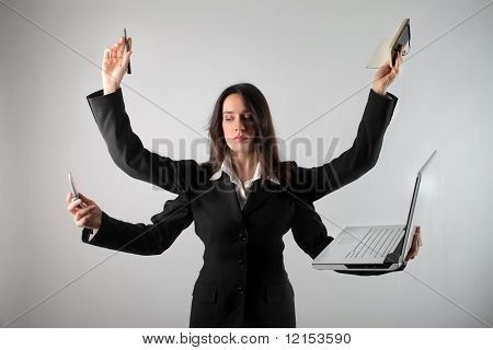 business woman with all office equipment