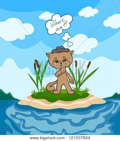 Cartoon cat in the hat on a desert island.