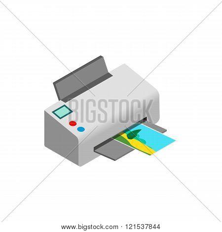 Color photo printer icon, isometric 3d style