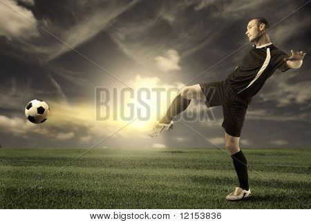 Football Player Training In A Grass Field