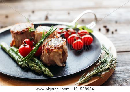 Delicious holiday dinner on a wooden table