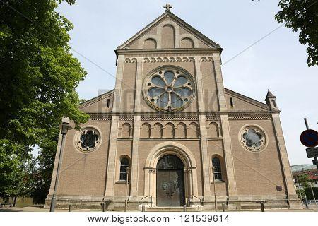 WASSERALFINGEN, GERMANY - MAY 05: Saint Stephen parish church in Wasseralfingen, Germany on May 05, 2014.