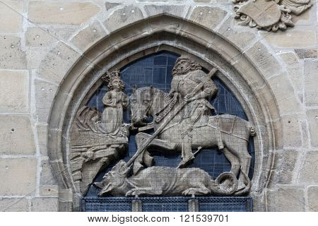 TUBINGEN, GERMANY - OCTOBER 21: Saint George, Collegiate Church of St. George in Tubingen, Germany on October 21, 2014.