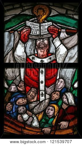EGGENROT, GERMANY - MAY 06: St. Patrick, stained-glass window in the parish church of St Patrick, work of painter Sieger Koder in Eggenrot, Germany on May 06, 2014.