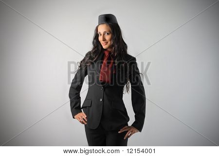 beautiful air Hostess isolated