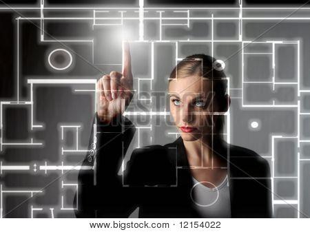 mulher de negócios de belo desenho de um modelo digital