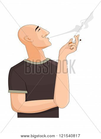 Bald man exhaling the cigarette smoke
