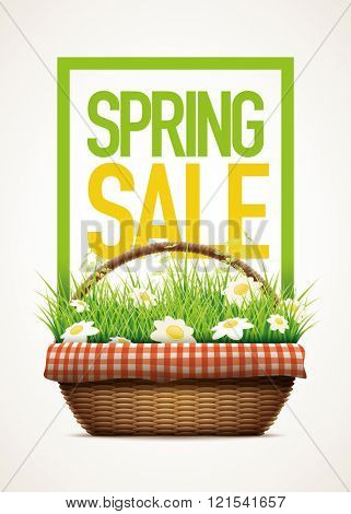 Spring Sale themed poster template.Vector illustration of realistic wicker basket. grass and daisy flowers in wicker basket.  Elements are layered separately in vector file.