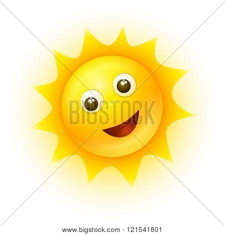 Vector smiling sun illustration.