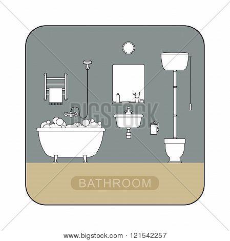 Bathroom interior with toilet.