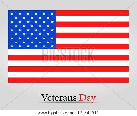 Flag America On Veterans Day - Vector Illustration.