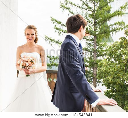 Wedding, Beautiful Romantic Bride and Groom