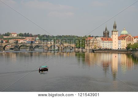 Prague, Czech Republic - April 28, 2010: Vltava River With Charles Bridge Crossing The River, Museum