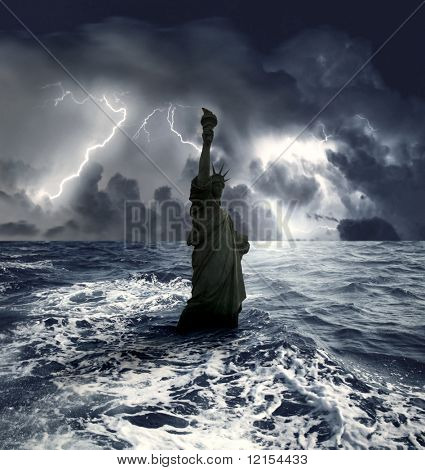 statue of liberty sinking in the sea during a storm