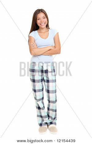 Woman Standing In Pajamas