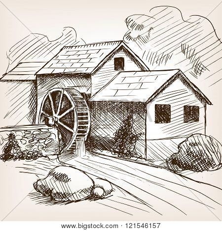 Water mill sketch style vector illustration. Old engraving imitation. Water mill hand drawn sketch imitation