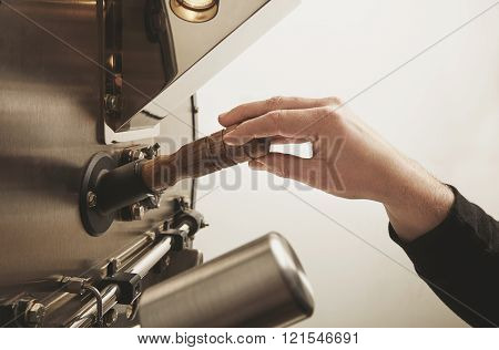 Work Hand Is Ready Take Probe Roasted Coffee Beans