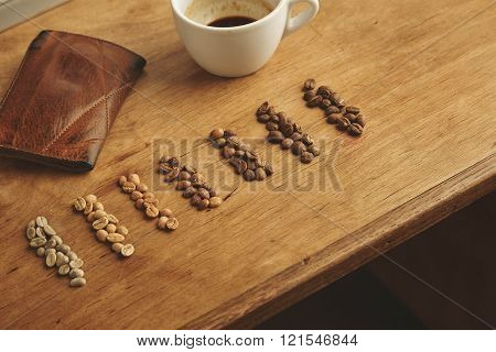 Coffee beans showing seven various stages of roasting from raw through to Italian roast isolated on