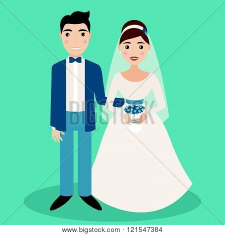 Bride and groom characters isolated on blue background, vector illustration for wedding invitations etc.