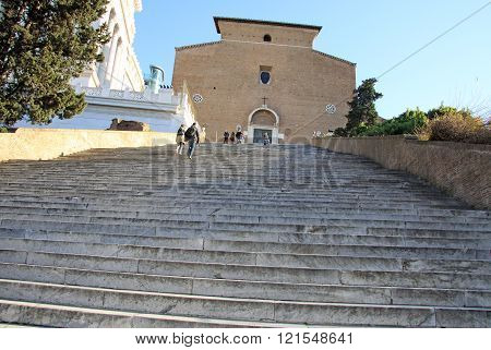 Rome, Italy - December 21, 2012: Stairs To Church Of Santa Maria In Aracoeli In Rome, Italy