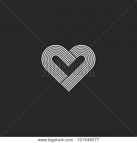 Heart Logo Monogram Wedding Invitation Decoration Design Element, Offset Parallel Line Geometric Sha