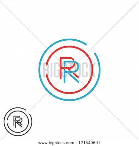 Combination Rr Logo Hipster Monogram Letter R Group, Overlapping Thin Line Circle Fame Business Card