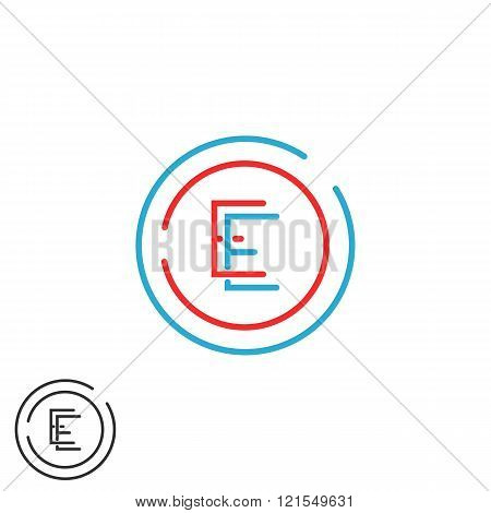 Letter E Logo Monogram, Combination Ee Circle Frame, Red And Blue Outline Business Card Emblem