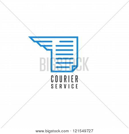 Courier service logo document file delivery blue thin line abstract text paper sheet wing graphic bookstore emblem design element