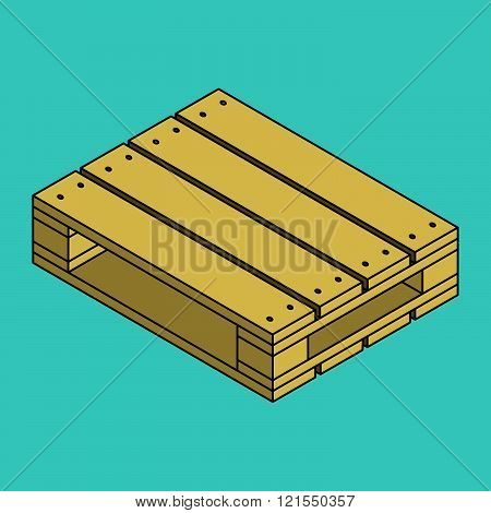 Wooden pallet isolated on blue background in vector