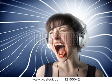 girl listening music and screaming with light whirl on the background