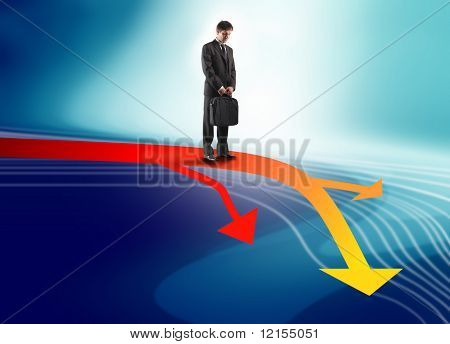 businessman choosing the right direction