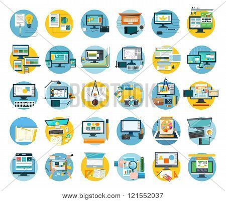 Set of Web Design Icon Flat Concept