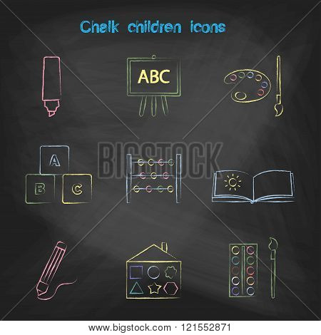 Set of linear icons. Children's toys collection of vector icons. Outline vector pen, pencil, board,