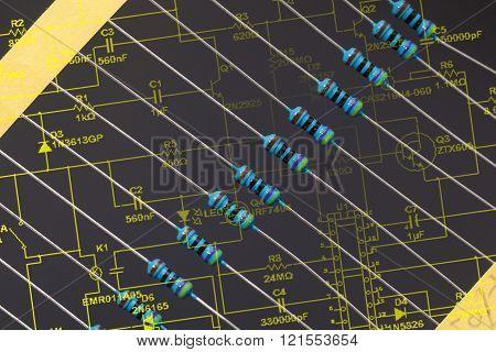 Detail of Group of resistors in black background