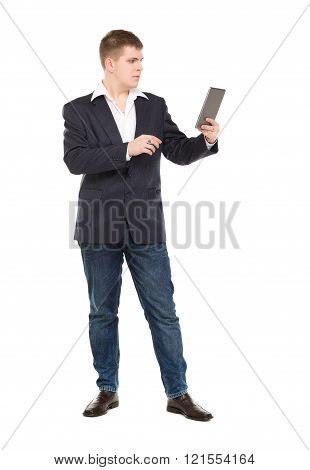 Full Length Portrait Confident Young Businessman With A Modern Tablet Pc
