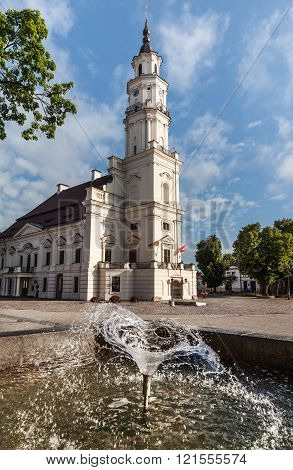 View Of City Hall In Old Town. Kaunas, Lithuania