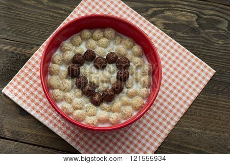 Heart Of Chocolate Cereal Balls With Milk