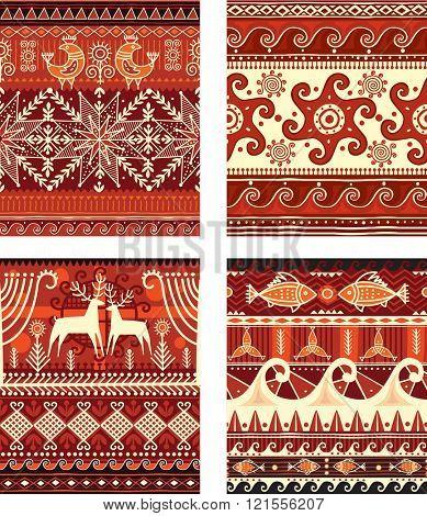 Seamless folk ornament elements texture