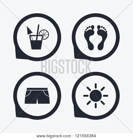 Beach holidays icons. Cocktail, human footprints